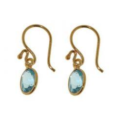 Boucles d'oreilles pendantes Vermeil Topaze Ovale 8x6mm