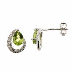 Boucles d'oreilles Péridot Poire 6x4mm et Diamant en Or Blanc 375