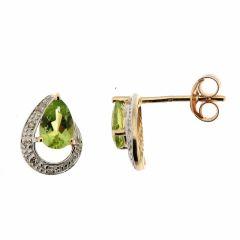 Boucles d'oreilles Péridot Poire 6x4mm et Diamant en Or Jaune 375