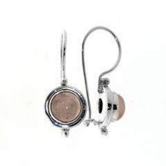 Boucles d'oreilles Quartz Rose 7mm Pendantes Argent