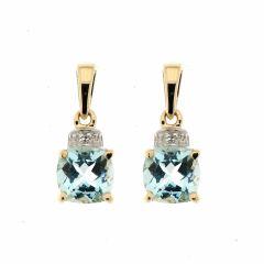 Boucles d'oreilles  Topaze bleue traitée Coussin 6mm et Diamant en Or Jaune 375