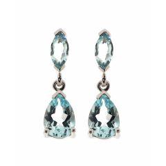 Boucles d'oreilles  Topaze bleue traitée Poire et Marquise en Or Blanc 375