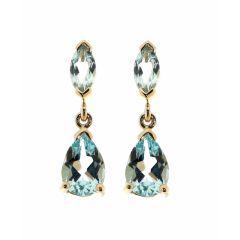Boucles d'oreilles  Topaze bleue traitée Poire et Marquise en Or Jaune 375