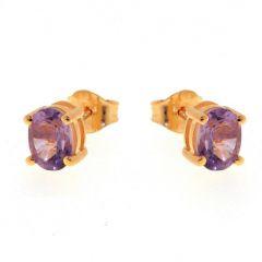 Boucles d'oreilles Vermeil Améthyste  Ovales 7x5mm