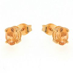 Boucles d'oreilles Vermeil Citrine Ovale 7x5mm