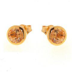 Boucles d'oreilles Vermeil Citrine Ronde 6mm