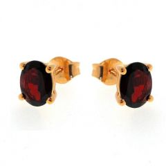 Boucles d'oreilles Vermeil Grenat Ovale 8x6mm