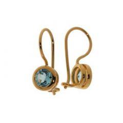 Boucles d'oreilles Vermeil Topaze bleue Traitée Ronde 6mm