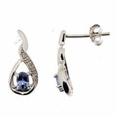 Boucles d'oreillesTanzanite Ovale 4x3mm et Diamant en Or Blanc 375