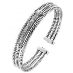 Bracelet 3 Rangs en Argent 925 Rhodié  et Oxyde de zirconium