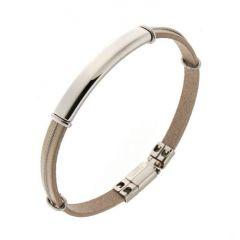Bracelet Acier et Cuir Beige Homme 7mm x 21cm