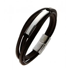 Bracelet Acier et Cuir multi rangs