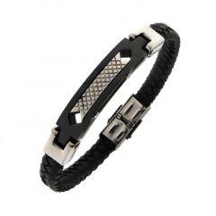 Bracelet Acier et Cuir pour Homme