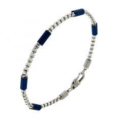 Bracelet Acier Maille Carrée Avec Motifs Cylindres