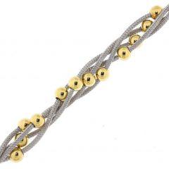 Bracelet Argent 925 2 tons 4 Mailles entrelacées et Boules