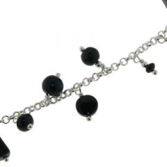 Bracelet Argent 925 et Breloques en Onyx