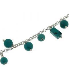 Bracelet Argent 925 et Breloques en Turquoise