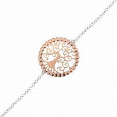 Bracelet Argent 925 Rhodié 2 tons Arvre de Vie