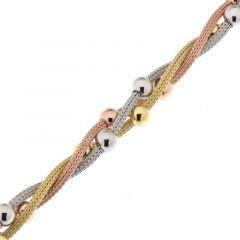 Bracelet Argent 925 rhodié 3 rangs entrelacés