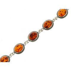 Bracelet Argent  Ambre 11mm x 20cm