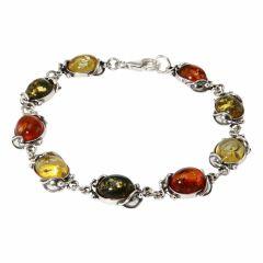 Bracelet Argent  Ambre Multicolore 10mm x 18cm