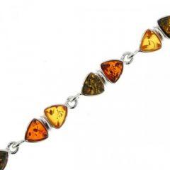 Bracelet Argent  Ambre Multicolore 7mm x 18cm