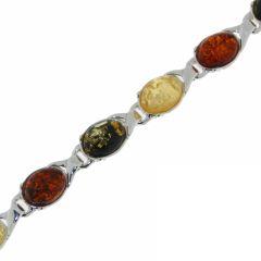 Bracelet Argent  Ambre Multicolore 7mm x 20cm