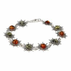 Bracelet Argent  Ambre Multicolore Motif Soleil