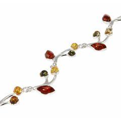 Bracelet Argent  Ambre Multicolore