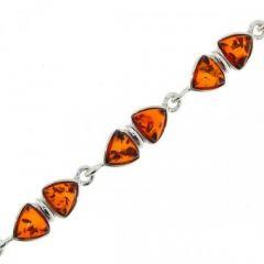 Bracelet Argent  Ambre Triangulaire 7mm x 18cm