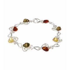 Bracelet Argent  Coeur et Ambre Multicolore 11mm x 19.5cm