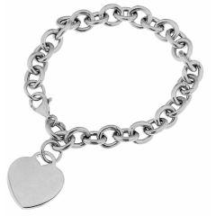 Bracelet Argent Maille Ovale et Coeur à graver