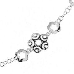 Bracelet Argent Motifs Ajourés Fleurs 19cm