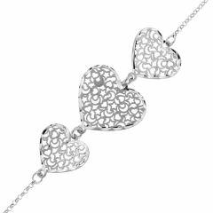 Bracelet Argent Motifs Coeurs