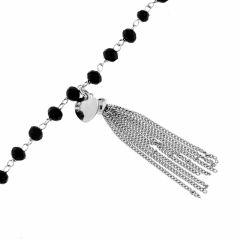 Bracelet Argent Pierre Noire Breloque Coeur Et Pompom