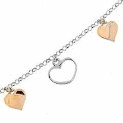 Bracelet argent rhodié bicolore breloques coeurs
