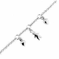 Bracelet argent rhodié breloques coeurs et petit personnage
