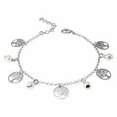 Bracelet argent rhodié breloques perles et arbre de vie