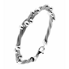 Bracelet argent rhodié maille tréssée torsadée avec boules
