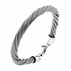 Bracelet argent rhodié maille tréssée torsadée