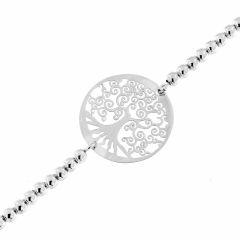 Bracelet argent rhodié motif arbre de vie maille boule