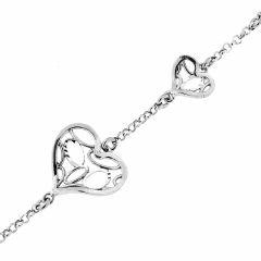 Bracelet argent rhodié motifs coeurs ajourés