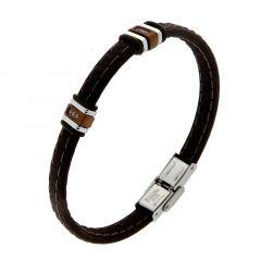 Bracelet Caoutchouc Marron avec Brarrettes Acier et Oxydes