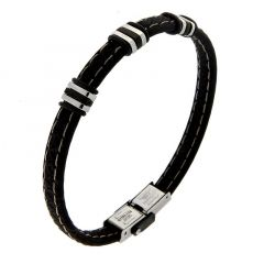Bracelet Caoutchouc Noir Avec Barrettes Acier