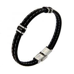 Bracelet Caoutchouc Noir avec Brarrettes Acier et Oxydes