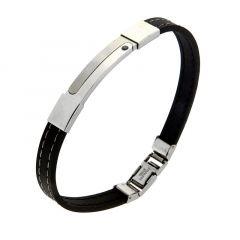 Bracelet Caoutchouc Plaque Acier et Oxyde de Zirconium