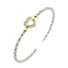 Bracelet Coeur en Argent 925 Rhodié  et Oxyde de zirconium