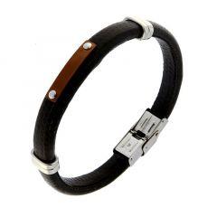 Bracelet Cuir Noir avec Acier Argenté et Cuivré