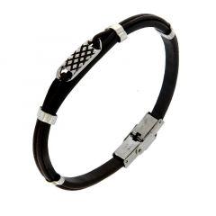 e3ab6fdb08d9c Bracelet Cuir Noir avec Plaque Texturée en Acier