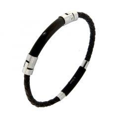 5d714aaee7a74 Bracelet Cuir Tressé avec Acier et Oxyde